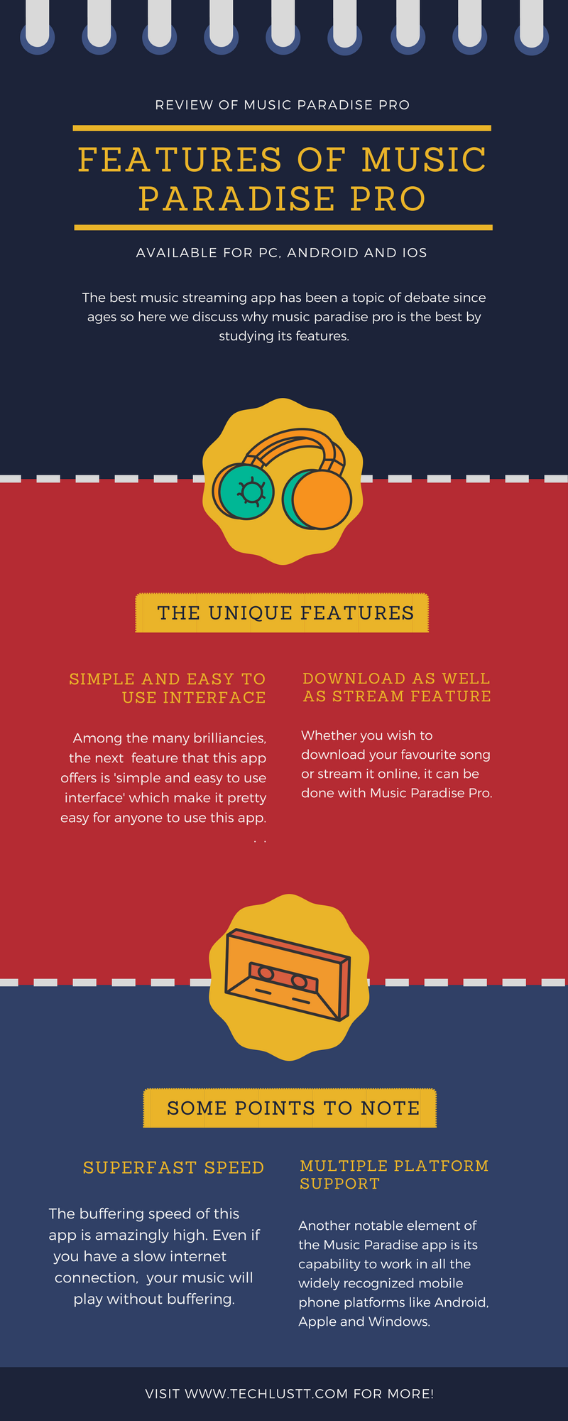 Music Paradise Pro features infographics
