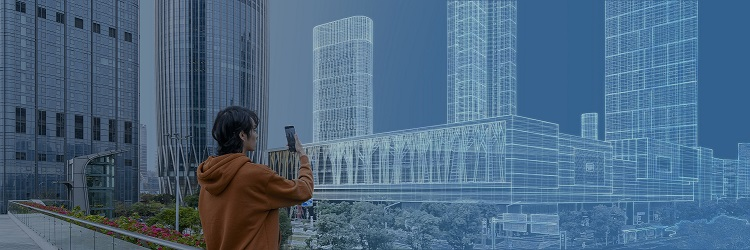 A person standing in front of a building  Description automatically generated